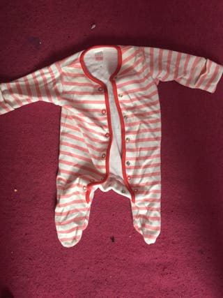 Pink and White striped baby grow