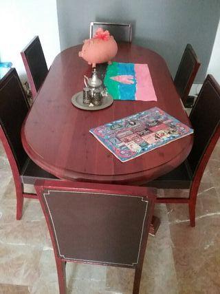Conjunto de mesa de comedor+ 6 sillas