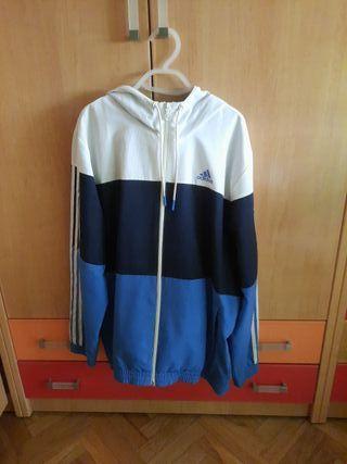 Chándal Adidas, Talla L. Color azul, blanco y negr