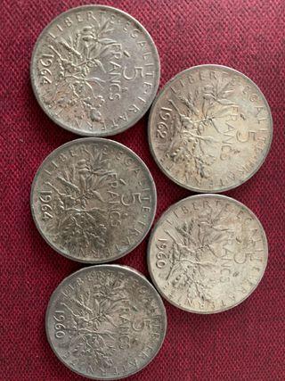 5 monedas de 5 francos de plata