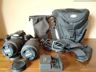 camara Nikon D5000 + objectiu 55-200