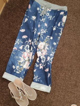 Dark denim effect floral cotton joggers BNWT