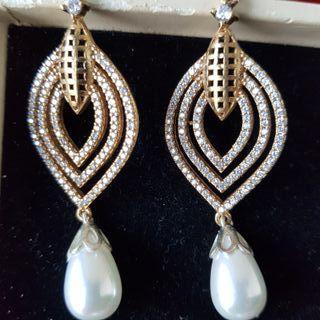 pendientes topacios y perla