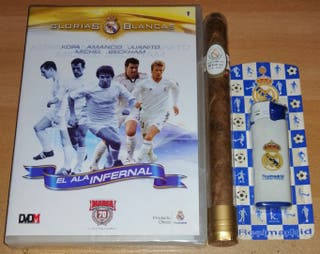 Real Madrid DVD Glorias Blancas, mechero y vitola