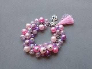 pulsera de perlas hecha a mano gato rosado rosa