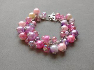 pulsera de perlas hecha a mano pegaso rosado rosa
