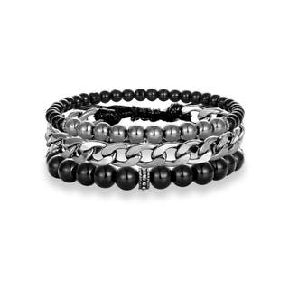 Set pulseras unisex con piedras naturales y acero