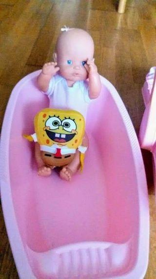 balancín más bañera y muñeca nenuca