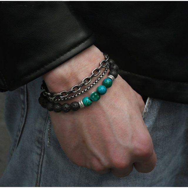 Sep pulseras unisec de piedras naturales y acero