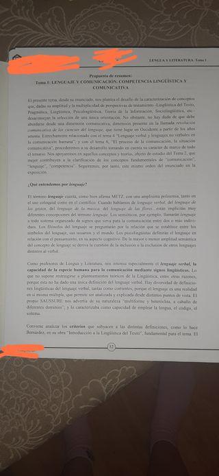 TEMARIO OPOSICIÓN SECUNDARIA LENGUA CASTELLANA