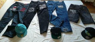 Lote pantalones y gorras Skate Urban