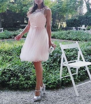 Vestido de fiesta corto tul color rosa agua