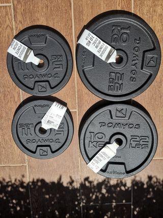 Discos de pesas de hierro 5 Kg y 10 Kg domyos