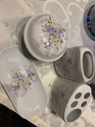 Conjunto tocador de baño (porcelana )