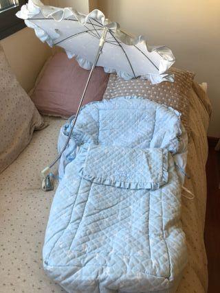 Saco más sombrilla para silla bebé marca Trapitos