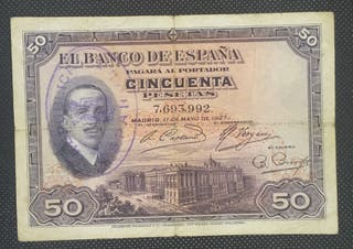 "Billete 50 Pesetas 1927 ""Sello República Española"""