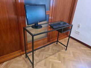 Mesa de escritorio de vidrio templado y acero