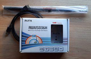 ALFA NETWORK AWUS036H + TURBOANTENA 20 DBI + CABLE