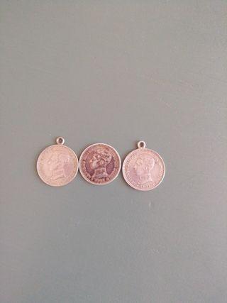 Tres monedas de plata de Alfonso XIII