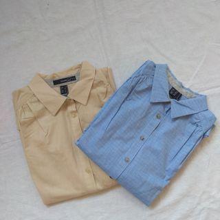 Pack camisas mujer azul y beis