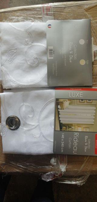 lot de 2 rideaux voilage 140x240cm blanc brodé