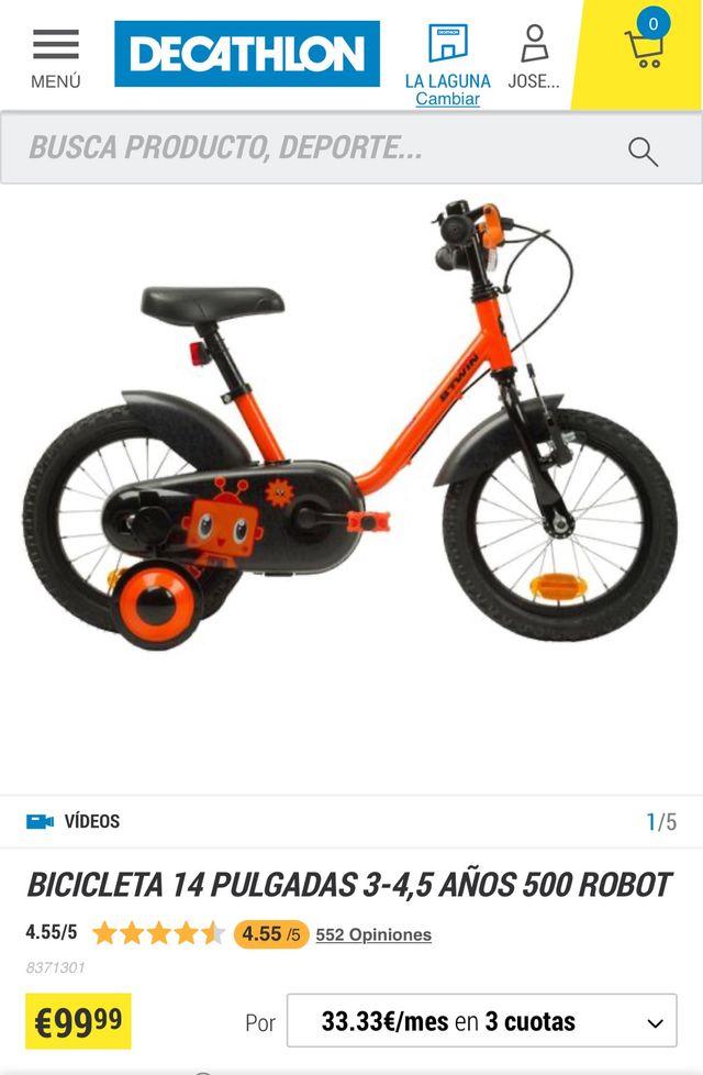 Bicicleta 14 pulgadas para niños de 3 a 6 años