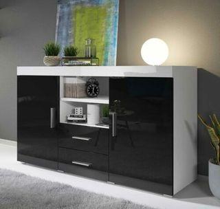 Aparador moderno modelo Roque color blanco y negro