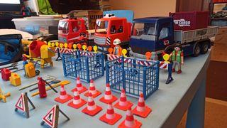 3 camiones y obras playmobil