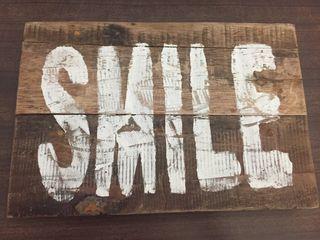 Cartel madera vintage SMILE 5€