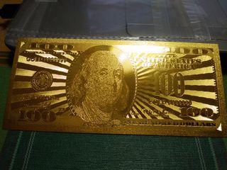 REPLICA BILLETE 100 DOLARES USA COLOR ORO