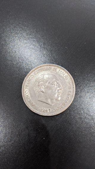 moneda 5 pesetas de 1949 de franco