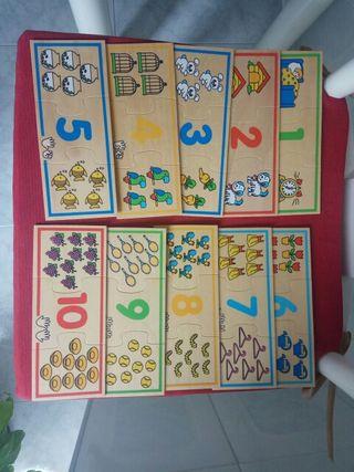 Puzzle piezas madera números infantil