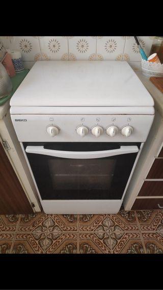 Cocina 4 fogones con tapa y horno de gas butano
