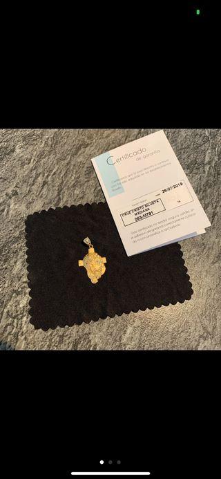 Medalla de cadena oro 18K nueva