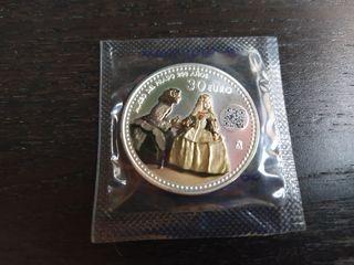 Moneda Plata 30 euros Color Las Meninas Velázquez