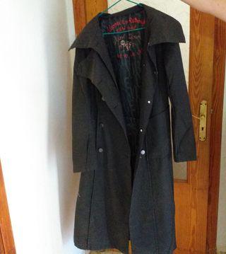 abrigo largo negro desigual talla 38