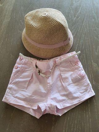 Pantalón corto rosa Gocco 2-3años + sombrero Zara