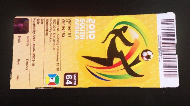 Entrada Final Mundial Fútbol 2010