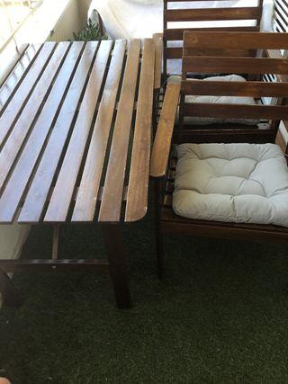 Conjunto mesa y dos sillas jardín