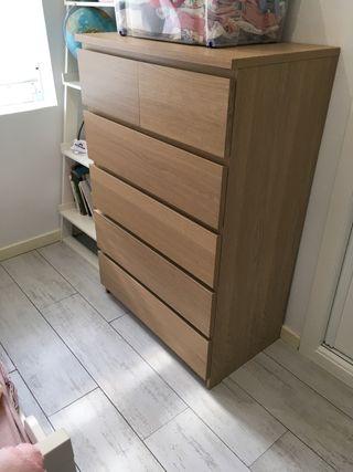 Cómoda 6 cajones, IKEA Malm