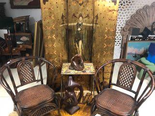 Pareja sillas de bambu y rejilla thailandesas