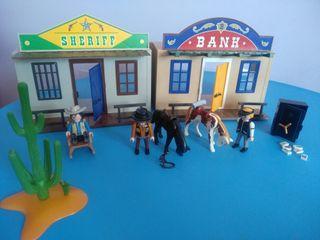 Oficina del sheriff y banco de Playmobil