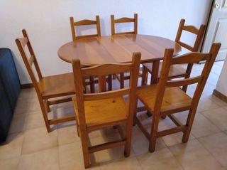 Mesa extensible y 6 sillas