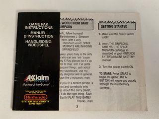 Manual juego de NES. Bart Vs the Space Mutants