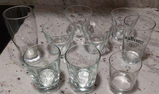 9 vasos surtidos cristal