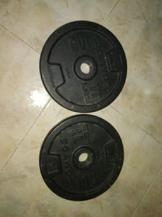 Discos pesas barras 5kg, 2kg, 1kg. De Domyos