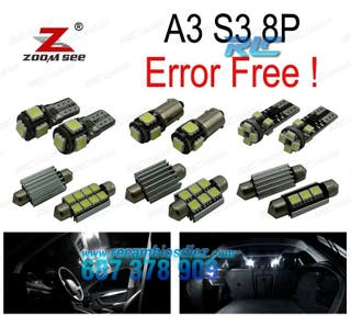 KIT COMPLETO DE 12 BOMBILLAS LED INTERIOR AUDI A3