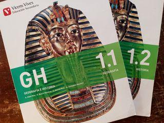 2 libros Geografía 1.1 e Historia 1.2 Vicens Vives
