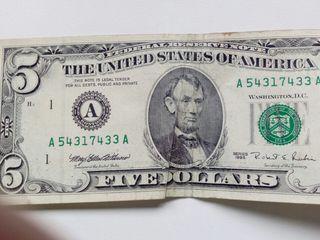 5 DOLARES U.S.A.