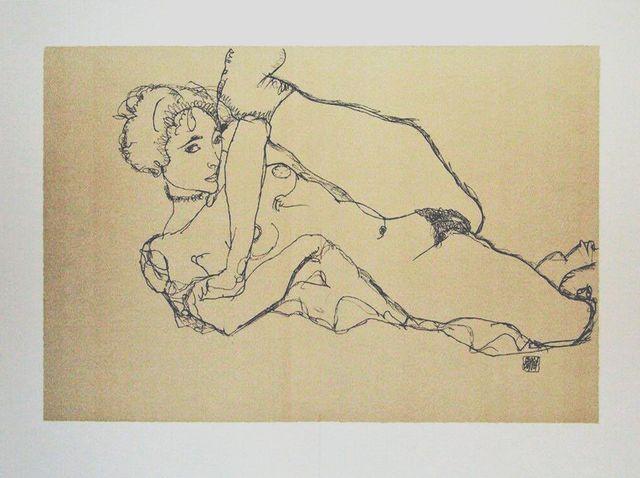 Egon Schiele-Cuadro-Litografía-Firmado Nude, Izqui